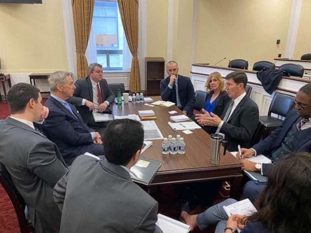 PHOTO: National Security Subcommittee Chairman Stephen Lynch leads a meeting with the House Oversight and Reform committee majority and minority staff, Feb. 6, 2020. (Derek Blume)
