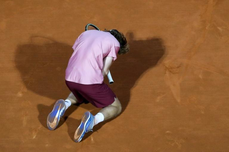 Famous triumph: Russia's Andrey Rublev celebrates after beating Rafael Nadal
