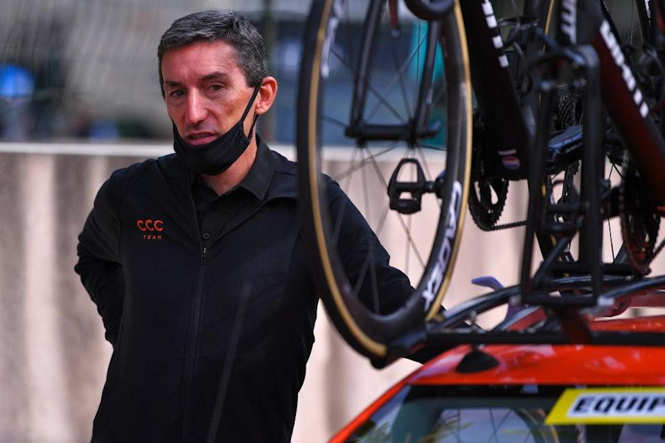 POITIERS FRANCE  AUGUST 30 Start  Marco Pinotti of Italy Head of Performance CCC Team  during the 33rd Tour PoitouCharentes en Nouvelle Aquitaine 2020 Stage 4 a 1646km stage from Thenezay to Poitiers  TourPoitouChtes  on August 30 2020 in Poitiers France Photo by Luc ClaessenGetty Images