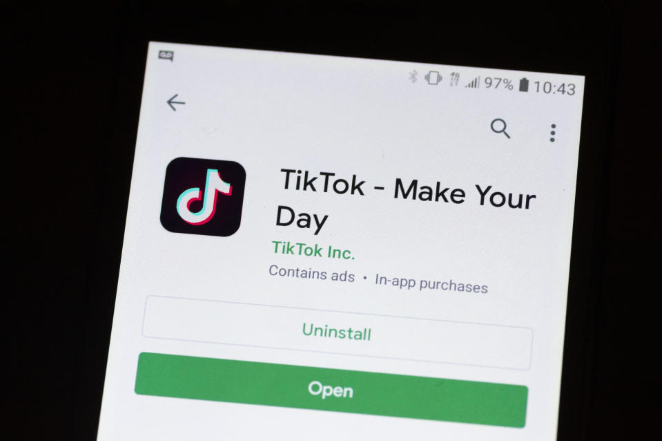A TikTok logo is seen on a mobile device in Mountain View, California on November 2, 2019 as a photo illustration.