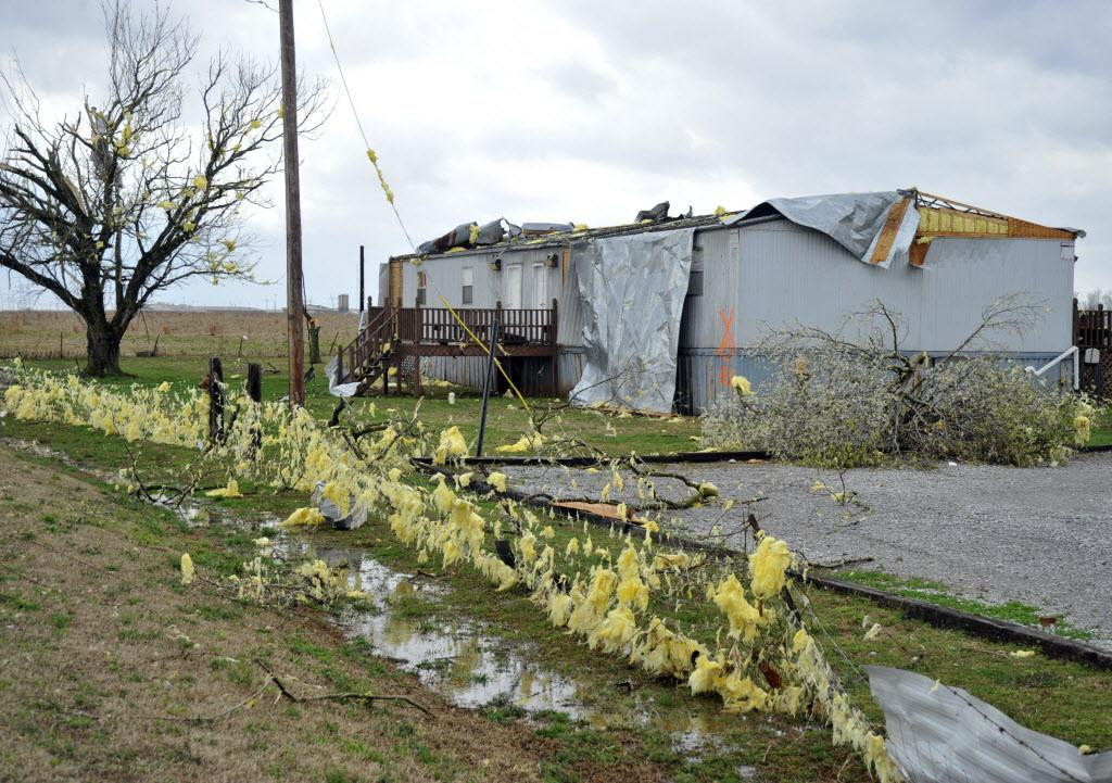 A training facility at Limestone Correctional Center in Alabama's Limestone County sits damaged by a reported tornado that passed through North Alabama, early Friday, March 2, 2012.  (AP Photo/The Huntsville Times, Bob Gathany)