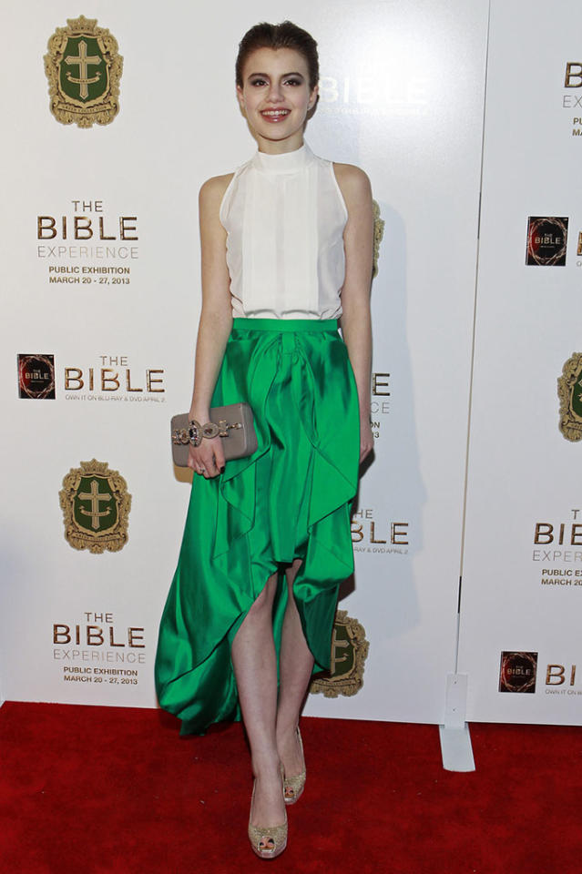 "Sami Gayle arrives at ""The Bible Experience"" opening night gala, a rare exhibit of biblical artifacts, in New York City on Tuesday, March 19 in New York."