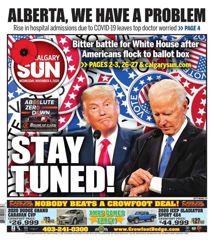 "THE CALGARY SUN, Published in Calgary, Canada (Courtesy <a href=""https://www.newseum.org/todaysfrontpages/"" rel=""nofollow noopener"" target=""_blank"" data-ylk=""slk:Newseum"" class=""link rapid-noclick-resp"">Newseum</a>)"