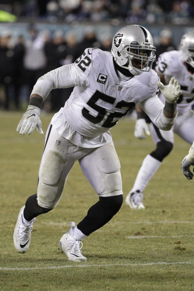 Oakland Raiders' Khalil Mack in action during an NFL football game against the Philadelphia Eagles, Monday, Dec. 25, 2017, in Philadelphia. Philadelphia won 19-10. (AP Photo/Chris Szagola)