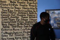 Volunteer Kevin Hunt stands against a wall bearing the names of tenants, who died while living in the Nickerson Gardens housing project, in the Watts neighborhood of Los Angeles, Wednesday, June 10, 2020. (AP Photo/Jae C. Hong)