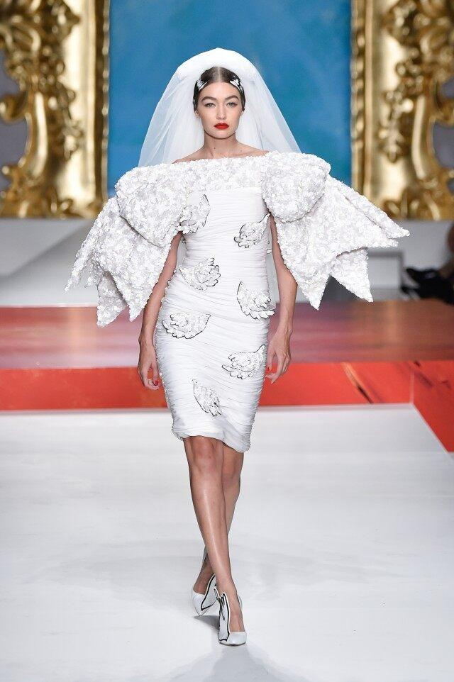 Gigi Hadid wedding dress walking Moschino spring/summer 2020 show