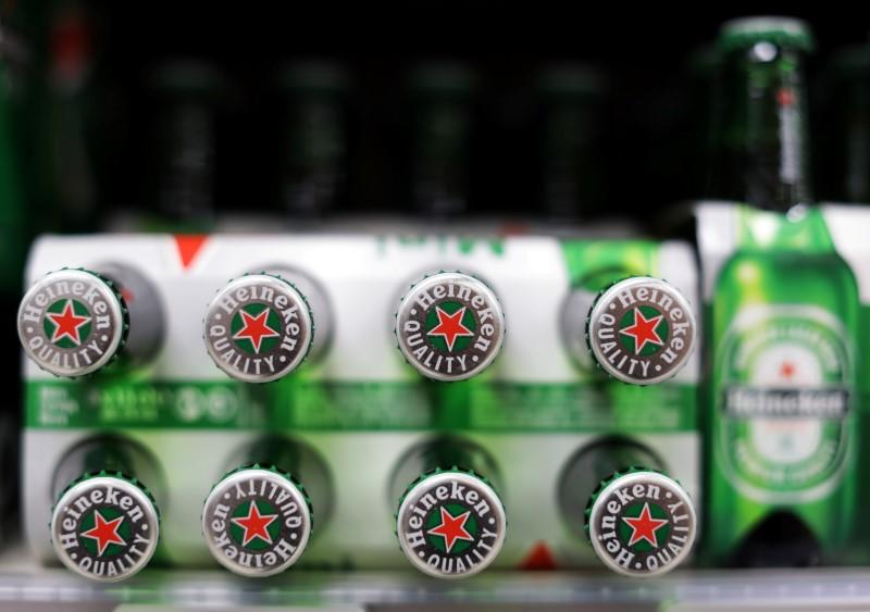 Packs of Heineken beer are displayed for sale in a Casino supermarket in Nice