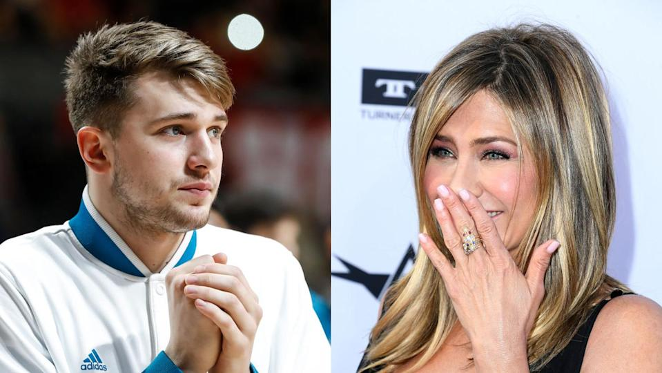 Slovenian basketball phenom Luka Doncic, 19, has the hots for 49-year-old actress Jennifer Aniston. (Getty Images)