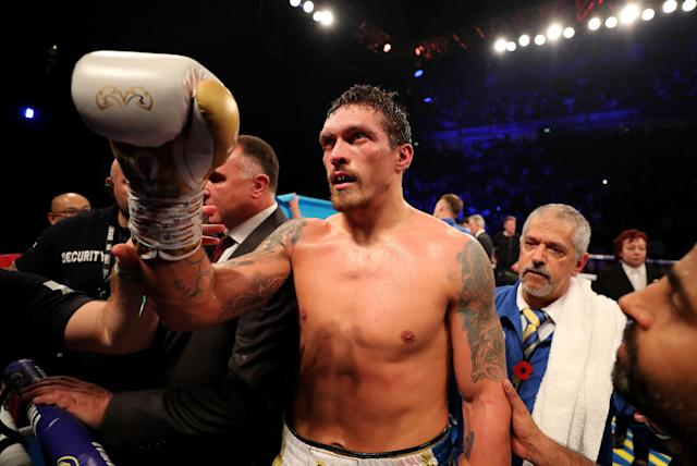 Oleksandr Usyk, shown here on Nov. 10, 2018, in Manchester, England, after a win over Tony Bellew, will make his heavyweight debut Saturday in Chicago. (Richard Heathcote/Getty Images)