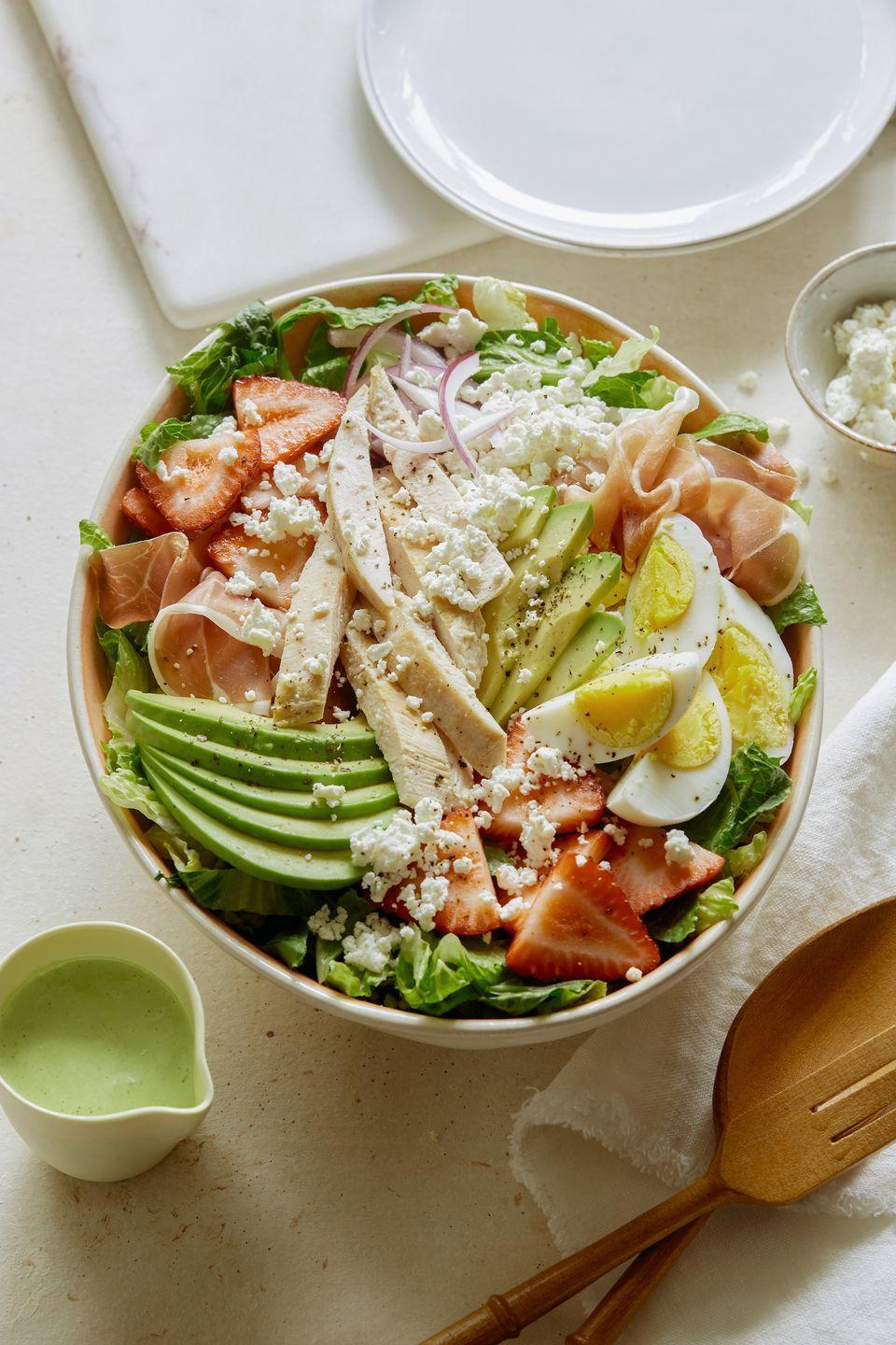 "<p>Strawberry salads forever.</p><p>Get the recipe from <a href=""https://www.delish.com/cooking/recipe-ideas/recipes/a53317/strawberry-cobb-salad-recipe/"" rel=""nofollow noopener"" target=""_blank"" data-ylk=""slk:Delish"" class=""link rapid-noclick-resp"">Delish</a>.</p>"