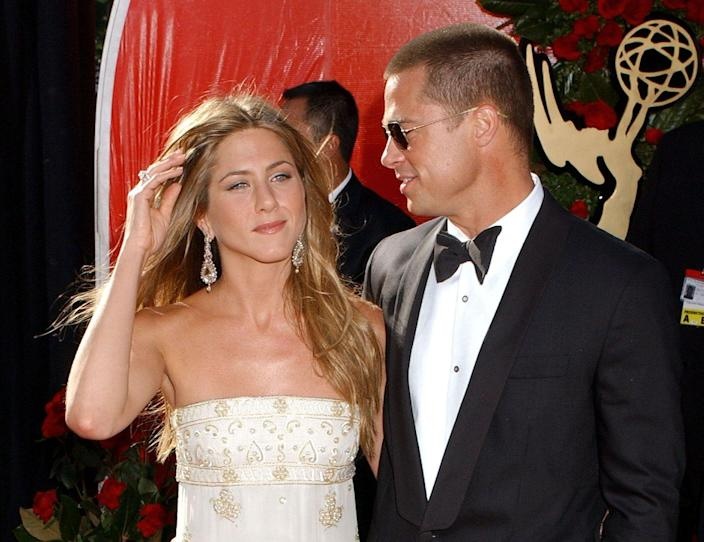 """<p>After five years of marriage, and one guest appearance on <em>Friends</em>, Pitt ends things with Aniston. Though he quickly began a relationship with his <em>Mr. and Mrs. Smith</em> co-star, Angelina Jolie, a joint statement released by the couple <a href=""""https://www.marieclaire.com/celebrity/g18655293/brad-pitt-jennifer-aniston-relationship-timeline/"""" rel=""""nofollow noopener"""" target=""""_blank"""" data-ylk=""""slk:states"""" class=""""link rapid-noclick-resp"""">states</a> """"For those who follow these sorts of things, we would like to explain that our separation is not the result of any of the speculation reported by the tabloid media. This decision is the result of much thoughtful <br>consideration.""""</p>"""