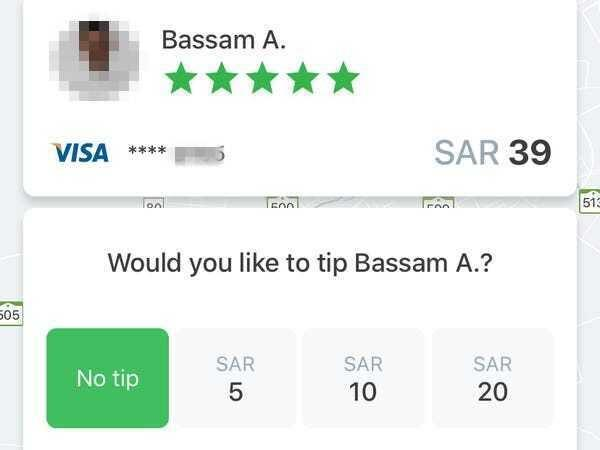 20 riyals is about $5, so the highest function is a 50% tip. careem bill