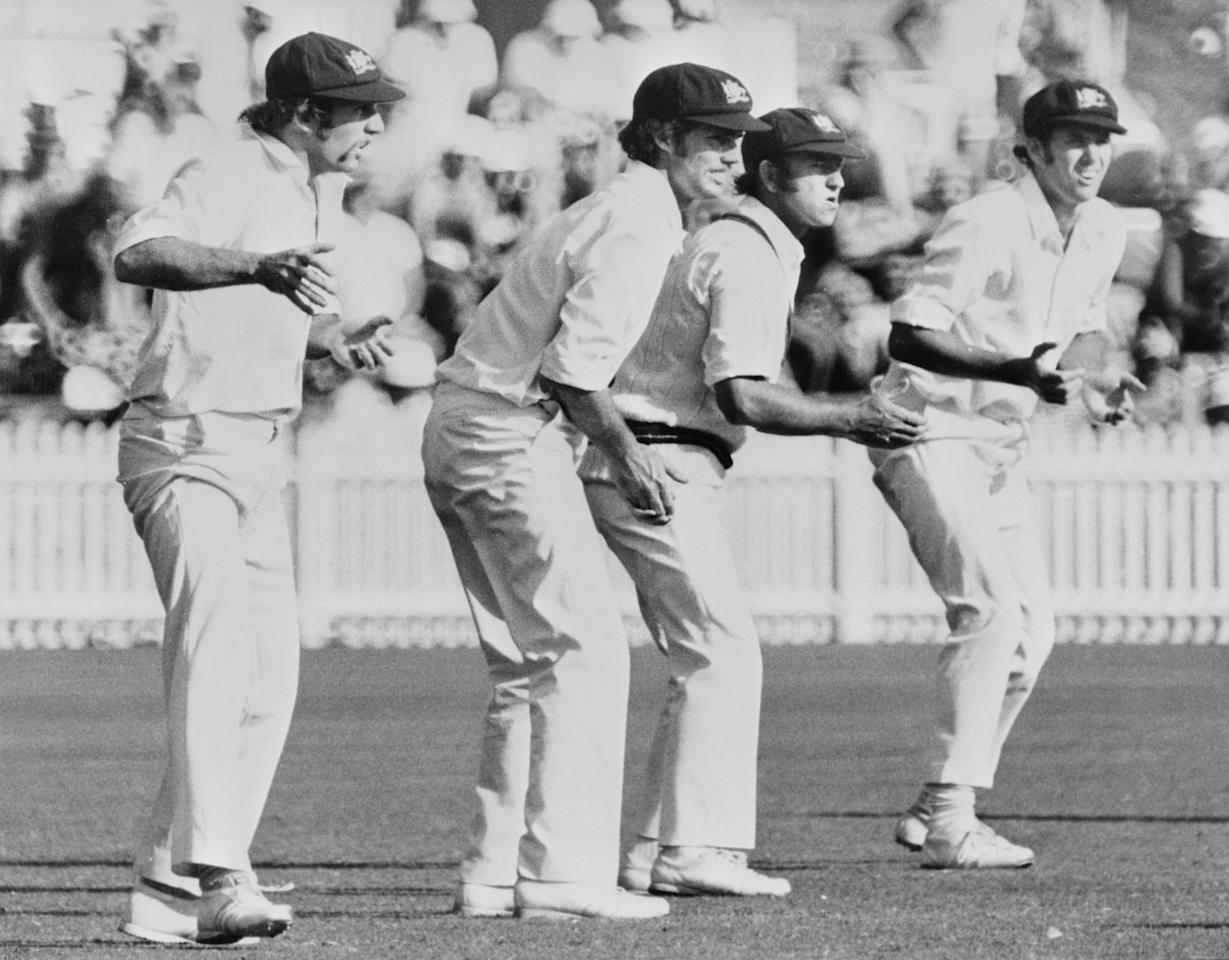 Australian slip fielders during a Test match against England, Australia, circa 1975. Left to right: Ian Chapell, Greg Chappell, Doug Walters and Rick McCosker. (Photo by Keystone/Hulton Archive/Getty Images)