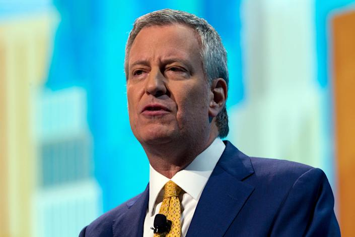 New York City Mayor Bill de Blasio speaks at the 2019 American Israel Public Affairs Committee policy conference in March. (Photo: Jose Luis Magana/AP)