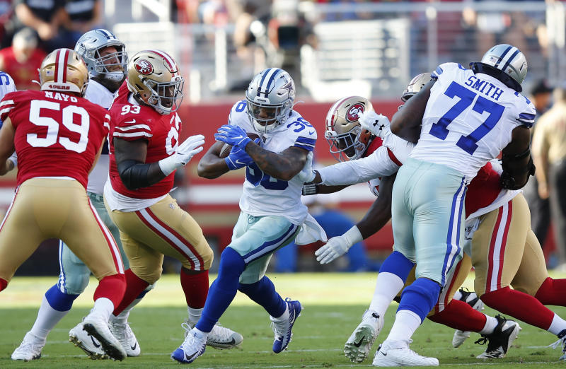 Dallas Cowboys running back Tony Pollard (36) carries against the San Francisco 49ers. (AP)