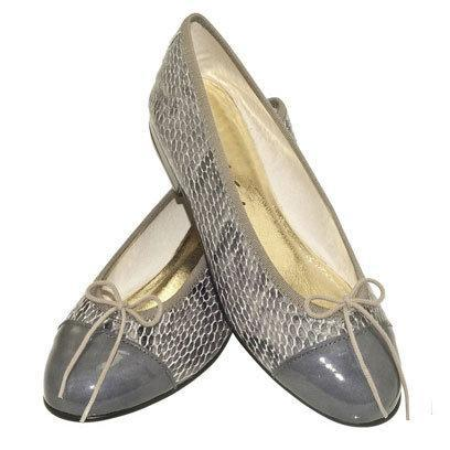 French Sole: Grey Snake Print Pumps: Weekend Flats
