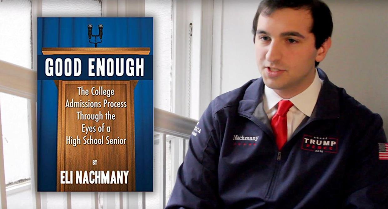 """Eli Nachmany, author of """"Good Enough,"""" a personal account of the college admissions process. (Photos: Amazon, WSN via YouTube)"""