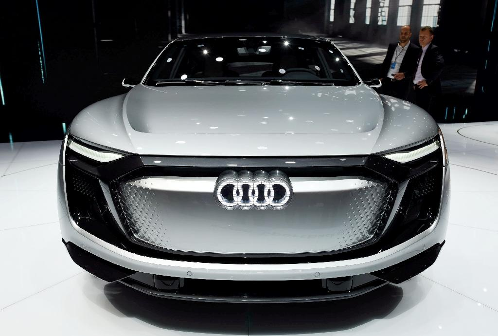 An Audi e-tron Sportback concept car at the Shanghai Auto Show on April 20, 2017. China's electric-car market is already the world's biggest, but a government proposal that automakers produce a quota of 'new-energy' vehicles is further charging it up (AFP Photo/STR)