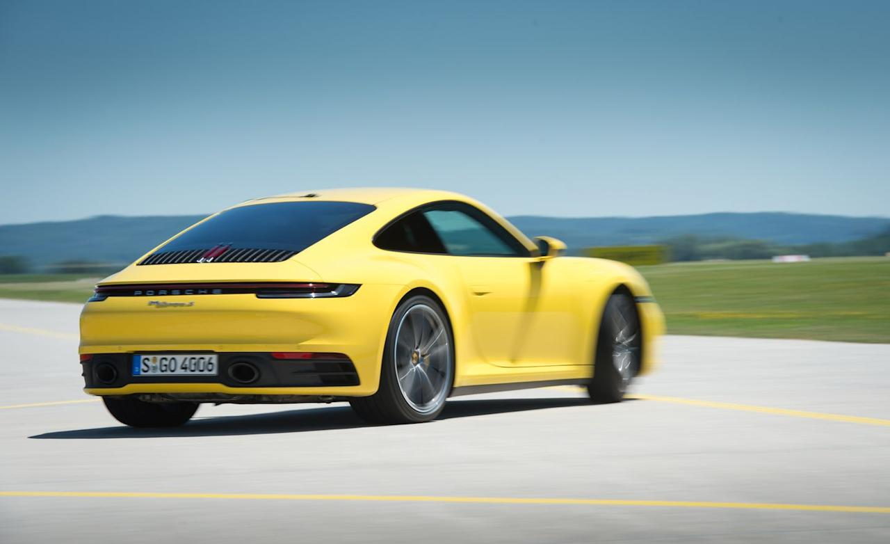 <p>Although the new 911 has new turbochargers and revised intercooler routing, the twin-turbo 3.0-liter flat-six makes 443 horsepower, a mere seven ponies less than the old GTS.</p>