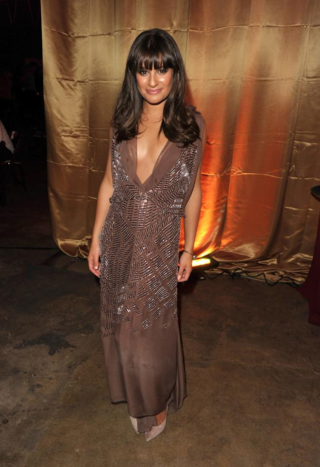 Lea Michele attended the Fox Fall Eco-Casino Party at Book Bindery on September 12, 2011 in Culver City, California wearing a floor-length sequined chiffon J. Mendel gown. She paired the mocha-colored dress with Casadei shoes and Neil Lane jewels.