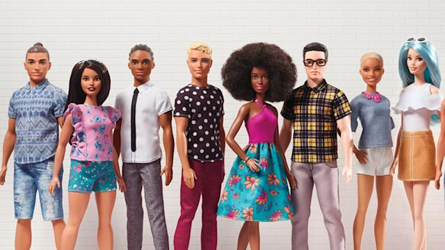 "The new line of ""Barbie Fashionistas"" dolls. (Mattel)"