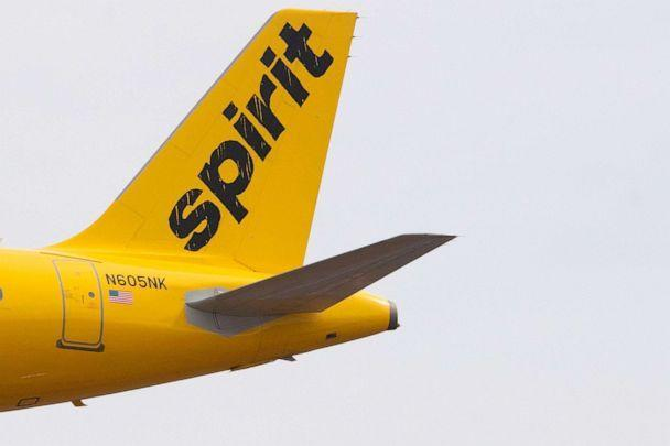 PHOTO: The tail section of an Airbus 320 operated by Spirit Airlines is seen as it approaches for landing at Baltimore Washington International Airport near Baltimore, March 11, 2019. (Jim Watson/AFP via Getty Images)