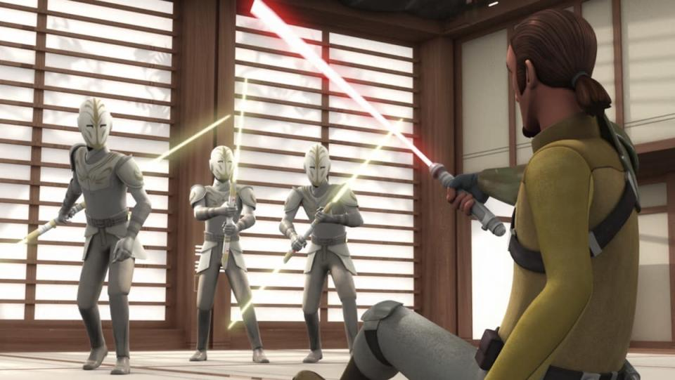 Three Jedi temple guards in all white with double-bladed yellow lightsabers loom over Kanan Jarrus with his lightsaber sitting on the floor
