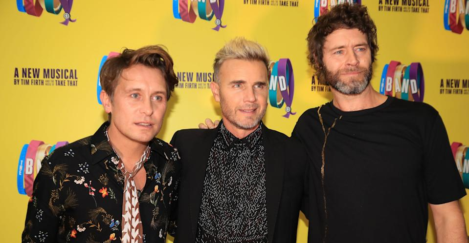 Gary Barlow with Mark Owen and Howard Donald. (PA Images)
