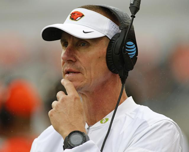 FILE – In this Sept. 17, 2016, file photo, Oregon State head coach Gary Andersen looks on from the sideline during an NCAA college football game in Corvallis, Ore. Oregon State and coach Gary Andersen have mutually agreed to part ways, effective immediately, with the Beavers off to a 1-5 start. The school announced the split in a news release Monday, Oct. 9, 2017, two days after a 38-10 loss at Southern California. (AP Photo/Timothy J. Gonzalez, File)