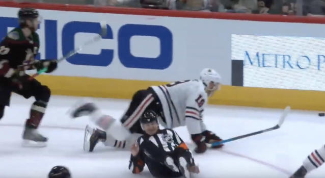 Tim Peel was in the wrong place at the wrong time during the third period of Thursday night's clash between the Chicago Blackhawks and Arizona Coyotes. (YouTube//Scouting the Refs)