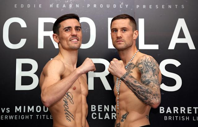 Anthony Crolla (left) and Ricky Burns during the weigh-in