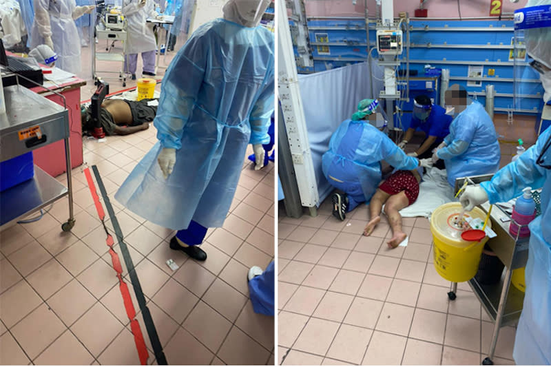 Patients had to be treated on the floor as emergency rooms ran out of beds.