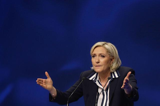 "<p>French far-right leader and presidential candidate Marine Le Pen addresses supporters during an election campaign rally in Nice, southern France, Thursday April 27, 2017. After ""the battle of Whirlpool,"" when Marine Le Pen and Emmanuel Macron both went hunting for France's blue-collar vote at a threatened home appliance factory, the presidential candidates clashed over fish as Le Pen boarded a fishing trawler, in a return to more traditional campaigning on Thursday. (AP Photo/Claude Paris) </p>"