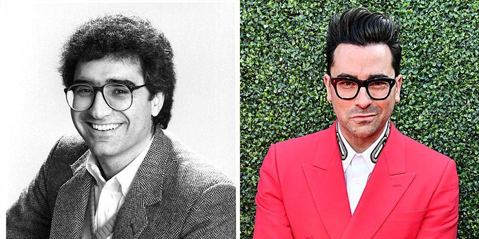 <p>Besides the fact that both father and son have similar taste in eyewear, by the age of 35, both Eugene and Dan had found themselves starring on the silver screen. For Eugene, that was as a star of <em>SCTV</em><em>, </em>while Dan was starred in <em>Schitt's Creek—</em><em>with</em> his father and sister.  </p>
