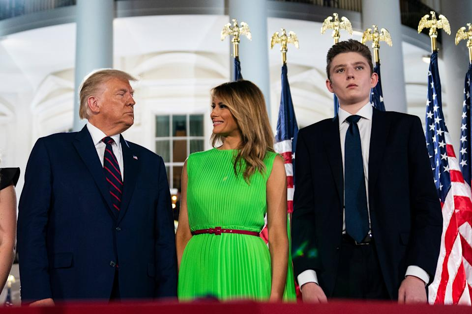 Barron Trump right, stands with President Donald Trump and  first lady Melania Trump on the South Lawn of the White House on the fourth day of the Republican National Convention in Washington. (AP Photo/Evan Vucci) (AP)