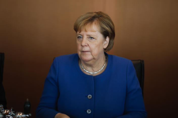 German Chancellor Angela Merkel attends the weekly cabinet meeting at the chancellery in Berlin, Germany, Wednesday, Oct. 30, 2019. (AP Photo/Markus Schreiber)