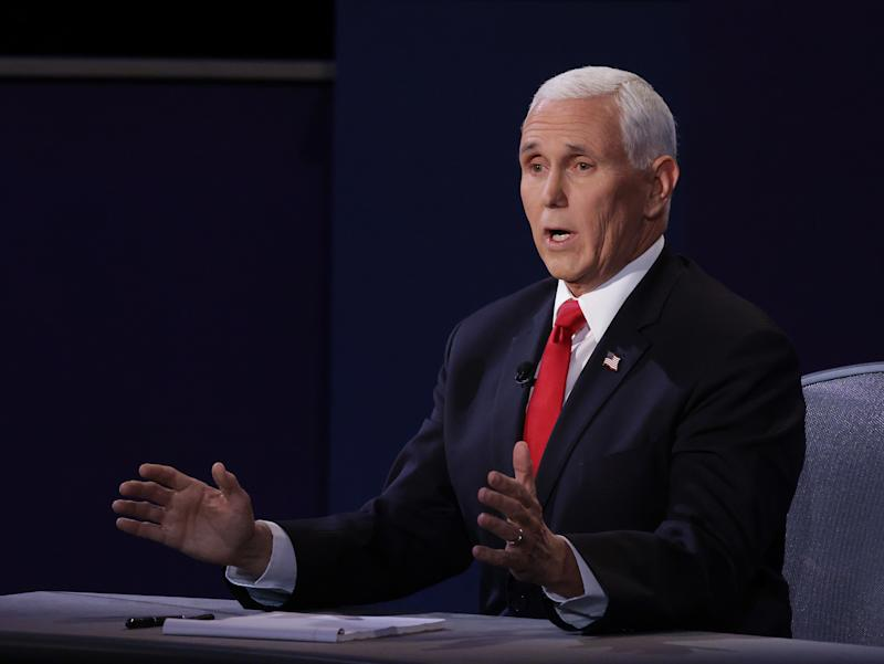 Vice President Mike Pence participates in the vice presidential debate against Democratic vice presidential nominee Sen. Kamala Harris (D-CA) at the University of Utah on October 7, 2020 in Salt Lake City, Utah. (Alex Wong/Getty Images)