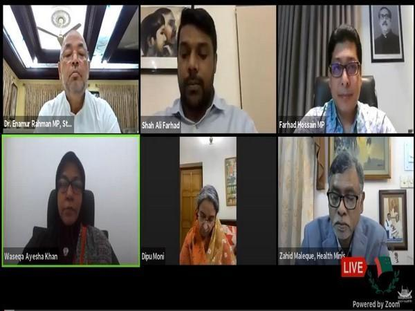 Speakers of Awami League interacting during a webinar session on 'Encountering Coronavirus situation in Bangladesh under the leadership of the premier Sheikh Hasina'. (Photo/ANI)