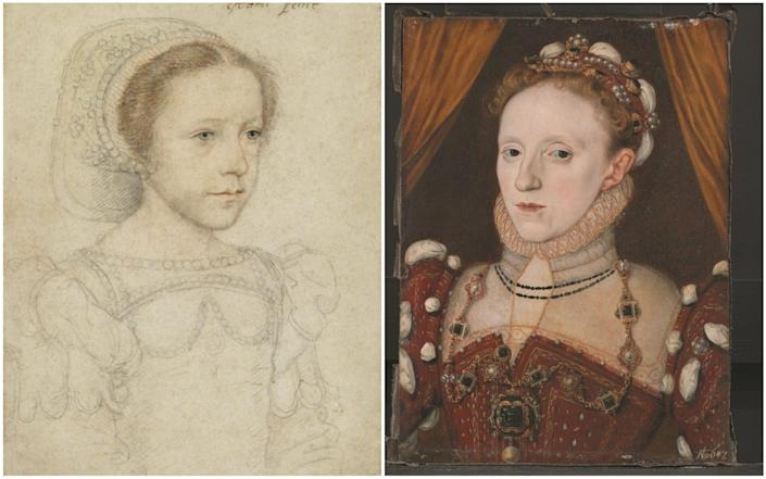 Forced into enmity: Mary as a child by François Clouet (left) and George Gower's portrait of Elizabeth I - Yale University Art Gallery/George Gower