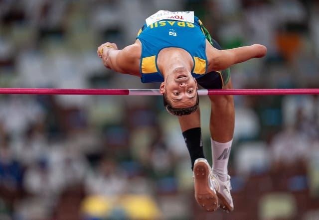 Brazil's Paulo Guerra competing in the men's high jump T47 final at the Paralympics