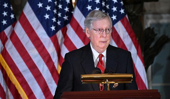 Senate Majority Leader Mitch McConnell speaking at the US Capitol on Tuesday. Photo: Reuters