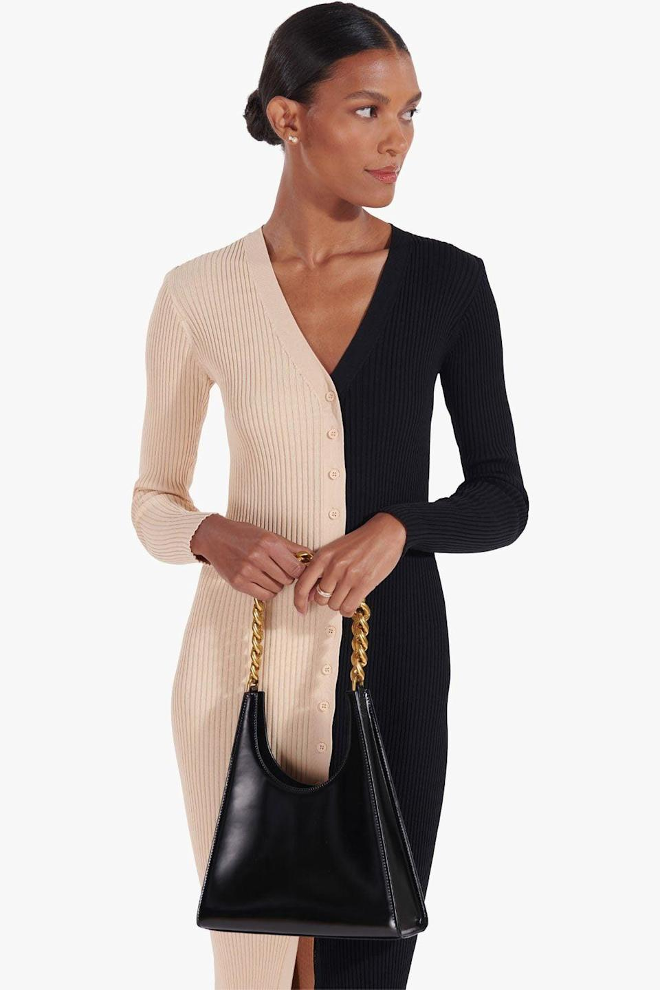 """<p>""""I love everything about this <span>Staud Rey Chain Bag</span> ($375). With the gold chain and lustrous leather material, it will easily polish up any ensemble."""" - SJ</p>"""