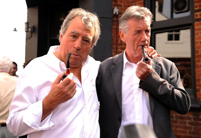 Terry Jones (left) and Michael Palin attend the unveiling of a British comedy society plaque outside The Angel Inn in Highgate, London, dedicated to former Monty Python star Graham Chapman.