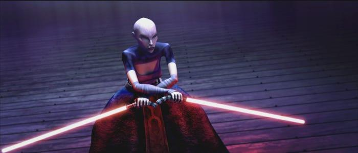 Asajj Ventress, disciple of the dark side and sworn enemy of the Jedi, prepares to fight in a thrilling moment from STAR WARS: THE CLONE WARS.
