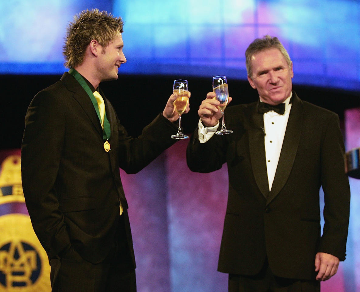 MELBOURNE, AUSTRALIA - JANUARY 31:  Michael Clarke with the his Allan Border Medal as the Cricketer of the Year drinks a toast with Allan Border during the 2005 Allan Border Medal Dinner held at Crown Casino on January 31, 2005 in Melbourne, Australia.  (Photo by Hamish Blair/Getty Images)