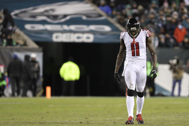 Atlanta's Julio Jones isn't happy with his pay compared to other elite wideouts in the NFL. (AP)