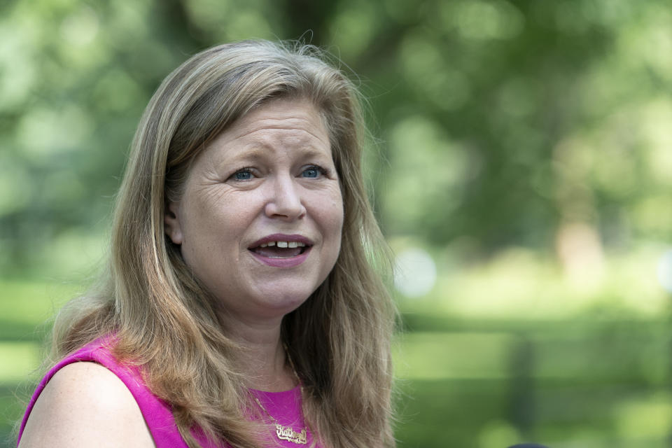 Kathryn Garcia, a Democratic candidate in the mayoral primary, concedes the race to Brooklyn Borough President Eric Adams during a news conference, Wednesday, July 7, 2021 in New York. (AP Photo/Mark Lennihan)