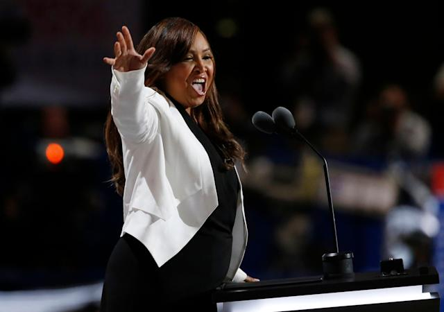 Lynne Patton speaks at theRepublican National Convention in Cleveland, Ohio, on July 20, 2016.
