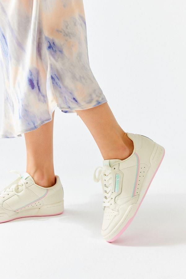 """<p>We're fully obsessed with these <a href=""""https://www.popsugar.com/buy/Adidas-Originals-Continental-80-Pastel-Sneakers-478353?p_name=Adidas%20Originals%20Continental%2080%20Pastel%20Sneakers&retailer=urbanoutfitters.com&pid=478353&price=80&evar1=fab%3Aus&evar9=46083308&list1=shopping%2Cfall%20fashion%2Cshoes%2Curban%20outfitters%2Cfall%2Cspring%2Cspring%20fashion&prop13=api&pdata=1"""" rel=""""nofollow"""" data-shoppable-link=""""1"""" target=""""_blank"""" class=""""ga-track"""" data-ga-category=""""Related"""" data-ga-label=""""https://www.urbanoutfitters.com/shop/adidas-originals-continental-80-pastel-sneaker?category=shoes-for-women&amp;color=011&amp;type=REGULAR"""" data-ga-action=""""In-Line Links"""">Adidas Originals Continental 80 Pastel Sneakers</a> ($80).</p>"""