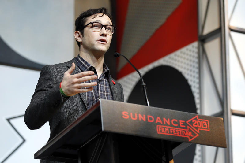Host Joseph Gordon-Levitt speaks during the 2013 Sundance Film Festival Awards Ceremony on Saturday, Jan. 26, 2013 in Park City, Utah. (Photo by Danny Moloshok/Invision/AP)